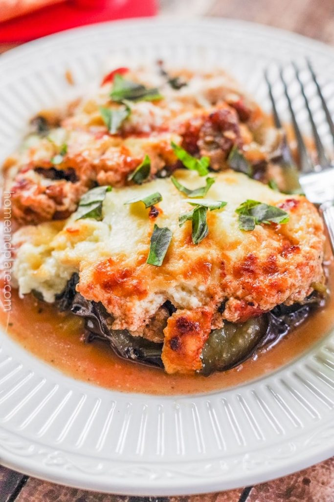 A serving of eggplant bake on a white plate