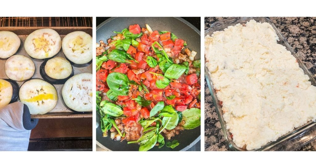 three photos of preparation - sliced eggplant on baking sheet, a mixture of spinach and tomatoes simmering, and a prebaked casserole pan topped with ricotta cheese