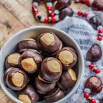 A bowl of chocolate peanut butter balls